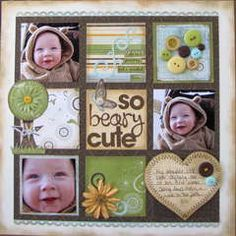 Lots of scrapbook page ideas-  create 9 squares and fill some w/ pics, others w/ designs