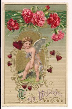 Spectacular John Winsch Samuel Schmucker vintage Valentine with Cupid Catherine Klein Flowers