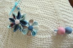 Asymmetrical teal and rose pink  flower necklace by ImwtheBand, €20.00