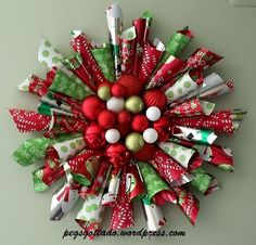 "Diy christmas wreaths 504684701985870360 - My theme for Christmas this year is going to be ""presents"", and this Christmas wreath made from double sided wrapping paper fits the theme perfectly! I wish I could take credit for the design, but… Source by Christmas Paper Crafts, Holiday Crafts, Christmas Crafts, Christmas Ornaments, Christmas Christmas, Christmas Markets, Burlap Christmas, Elegant Christmas, Christmas Vacation"