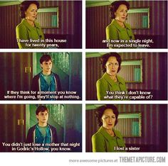 Harry Potter deleted scene… sad they took it out...7 second and she became human.  Why. Why would they take this out? Just why? I cannot fathom why they took this out, it literally held SO much emotion. It was the one nice thing she ever had to say about Lily and made it seem like she actually cared at all.