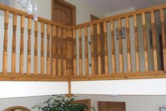 Berriew Provincial Softwood Staircase Oak Handrail, Metal Spindles, Banisters, Glass Panels, Case Study, Refurbishment, Landing, Home Decor, Ladders