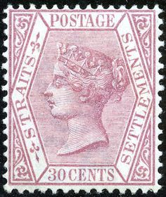 30¢. Claret - SG69 Strait Of Malacca, Straits Settlements, Queen Vic, Crown Colony, Cocos Island, Labuan, Postage Stamps, Postcards, Empire
