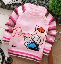 2017 Tempo-Limitado Frete Grátis porco dos desenhos animados personagem de manga longa de algodão da listra o-pescoço o-pescoço do bebê roupas meninos camisolas(China (Mainland))