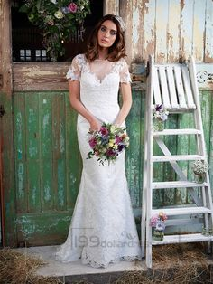 Illusion Neckline Short Sleeves Lace Mermaid Wedding Dress
