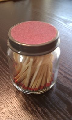 Idea from http://ruffledblog.com/diy-strike-anywhere-match-jars/   I used baby food jars and purple sand paper