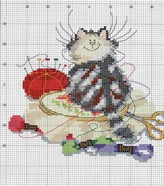cat #embroidery #floss #pincushion #scissors