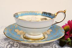 Aynsley Tea Cup and Saucer, Turquoise Blue and Gold