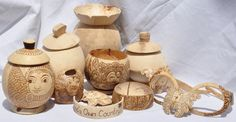 The Art of Pyrography on Coconut shell craft by Jeena Gopi, via Behance