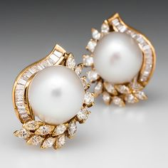 Vintage Cultured Pearl Diamond Spray Earrings 18K Gold