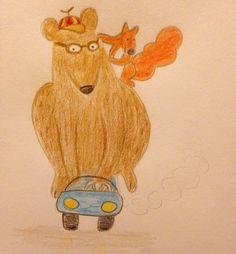 #bear #squirrel #car #illustration #drawing #floortinga