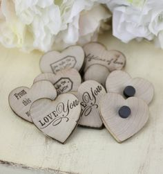 Rustic Wedding Favors Wood Heart Magnets Inside by braggingbags, $299.00