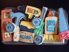 Fathers Day Cookies~             By Calley's Cookie Jar, hammer, saw, wrench, screwdriver, ruler, drill, glue Man Cookies, Cute Cookies, Cut Out Cookies, Iced Sugar Cookies, Royal Icing Cookies, Tool Box Cake, Construction Cookies, Sweet 16 Cupcakes, 55th Birthday