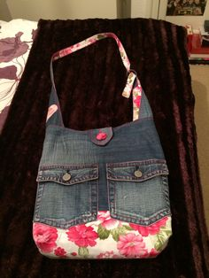 Upcycled denim and pieced from a dress into a bag for Beckiee