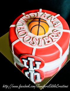 - Indiana Hoosiers Basketball b-day cake. Want this cake but with a different team on it Final Four Basketball, Indiana Basketball, I Love Basketball, Basketball Birthday, Pitt Basketball, Basketball Court, Iu Hoosiers, Basketball Equipment, Rules For Kids