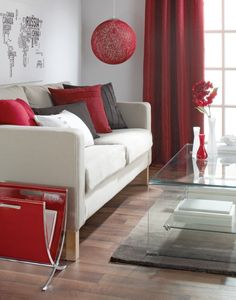 Brown and Red Living Room Decor Bold Bright Red Decorating with Red White Brown for Red Living Room Decor, Red Home Decor, Living Room Color Schemes, Living Room Designs, Living Rooms, Grey And Brown Living Room, Deco Studio, Deco Design, Home And Deco