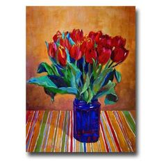 Trademark Art 'Tulips in Blue Glass' by David Lloyd Glover Painting Print on Canvas Size: