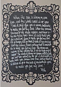 Custom Art Print John Mayer Music Lyrics By RosevilleDesigns 1800