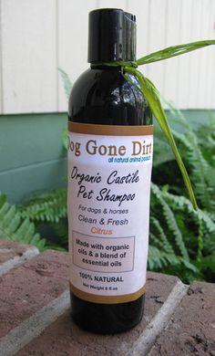 Organic Castile Dog Shampoo dogs and horses by DogGoneDirt on Etsy, $12.99