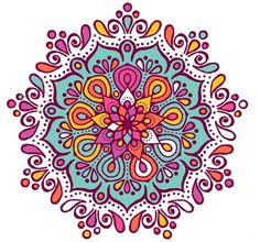 Colorful mandala with floral shapes Free Vector Mandala Art, Mandalas Painting, Mandalas Drawing, Dot Painting, Lotus Mandala Design, Flower Mandala, Tattoo Shoulder Men, Wall Drawing, Cross Stitch Patterns