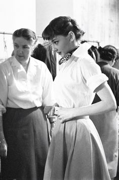 Audrey Hepburn in costume on the set of Roman Holiday, 1953
