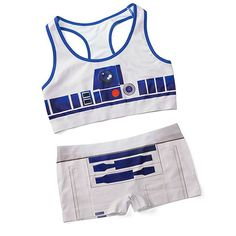 Officially-licensed Star Wars sports bra and boyshorts from Thinkgeek that are like underoos for ladies