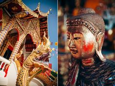 One of Chiang Mai's 18 or so Buddhist temples, Wat Dokeung is adorned in brilliant colors, statue work, and architectural details.