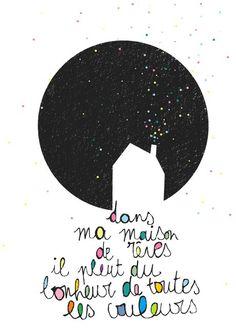 Citation & Proverbe  Image    Description  Dans ma maison de rêves, il pleut du bonheur de toutes les couleurs