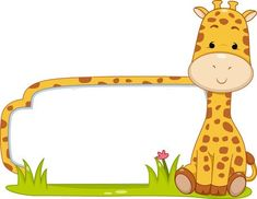 Illustration Of A Ready To Print Label Featuring A Cute Giraffe. Stock Photo, Picture And Royalty Free Image. Spongebob Birthday Party, Jungle Theme Birthday, Classroom Birthday, Safari Theme, Baby Birthday, Classroom Decor, Class Decoration, School Decorations, Boarder Designs