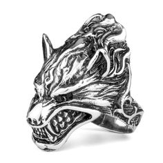 Mendino Jewelry #13 Men's Stainless Steel Band Ring Wolf Biker Grinning Silver #Mendino #Band