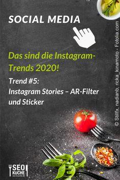 """Wofür AR-Filter und Sticker 2020 wichtig sein können verraten wir euch in unserem Blogbeitrag zum Thema """"Unser Ausblick auf das Jahr 2020 bei Instagram"""". #Onlinemarketing #SocialMedia #Socialmediatrends #2020 E-mail Marketing, Content Marketing, Social Media Marketing, Social Media Trends, Pinterest Co, Facebook Content, Search Ads, Lokal, Local Seo"""