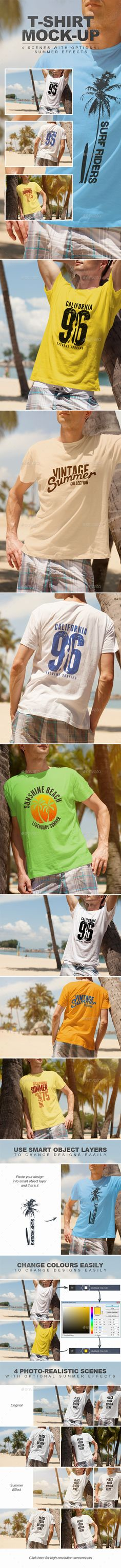 Summer Male Tshirt Mockup — Photoshop PSD #sell #sand • Available here → https://graphicriver.net/item/summer-male-tshirt-mockup/11877692?ref=pxcr