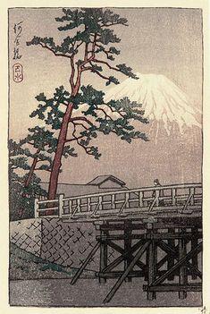 """Mt. Fuji from Kawai Bridge""  by Kawase Hasui・ 1930s ・  Series and Published as Postcard Prints of Kawase Hasui ・"