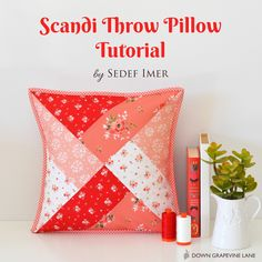 66 Ideas Sewing Pillows Patchwork For 2019 Patchwork Pillow, Quilted Pillow, Sewing Patterns Free, Free Sewing, Quilt Tutorials, Sewing Tutorials, Tutorial Sewing, Pillow Tutorial, Pincushion Tutorial