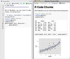 Inserting R code chunks in Markdown
