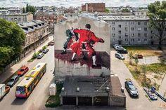 """Conor Harrington """"Warsaw Fight Club"""" x Street Art Doping 2015 — Urbanite Street Art News, Street Artists, Urban Graffiti, Graffiti Art, Street Installation, Amazing Street Art, Warsaw Poland, Irish Art, Drip Painting"""