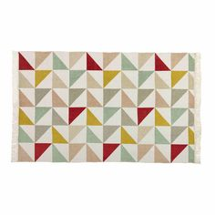 Alfombra con motivo de triángulos de algodón 120 x 180 cm LÉA