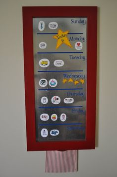 I Am Momma - Hear Me Roar: DIY Magnet Board. tips for creating a magnet board plus links to her 'what's up weekly board and a chore chart Kids Calendar, Magnetic Calendar, Weekly Calendar, Toddler Calendar, Weekly Planner, Calendar Board, Calendar Ideas, Schedule Board, Weekly Schedule