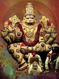 Lord Vishnu took avathar(dashavatara) as a Narasimha Swamy (Half-Man & Half-Lion) to kill the Demon King Hiranyakasipu & save his most ardent devotee Prahlada. Sai Baba Wallpapers, Lord Vishnu Wallpapers, Lord Krishna Images, Radha Krishna Pictures, Nara, God Themes, Lord Balaji, Shiva Tattoo, Hindu Deities