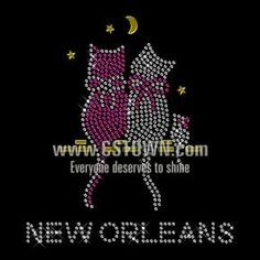 Shinning Rhinestone Cats Family Transfer Iron on Design for Clothes