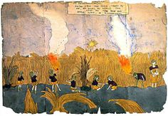 Henry Darger - At Roseannahogan. Vivian girls are almost chased by foe, but escape by setting tall grass on fire near the battle line at Roseannahogan