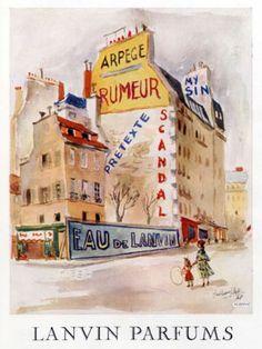 Publicité parfums Lanvin 1953 Guillaume Gillet (1912-1987)