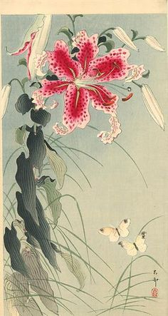 Lily and Butterflies, 1912 by Ohara Koson. Shin-hanga. wildlife painting