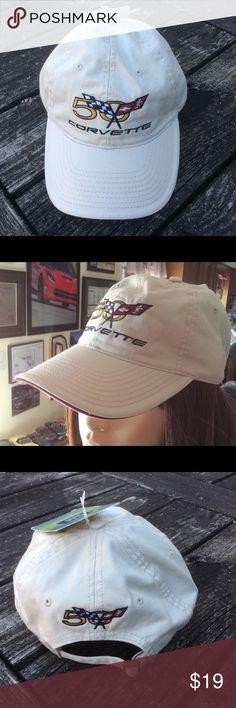 Corvette 50th Anniversary Cap New with tags adjustable cap. Official GM product. Cream with Corvette logo. Accessories Hats