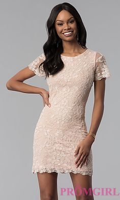 Shop short-sleeve embroidered party dresses in rose gold at PromGirl. Short rose gold sheath dresses with scoop necklines, embroidery, and beads. Party Dresses With Sleeves, Lace Dress With Sleeves, Short Sleeves, Short Lace Dress, Short Dresses, Elegant Dresses, Casual Dresses, Formal Dresses, Yellow Dress Casual