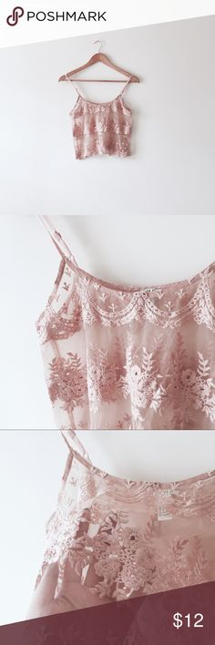 Nude sheer lace crop cami Size S. Nude/peach color. Sheer, lacey, adjustable straps. Same style in white also available in my closet. Forever 21 Tops Camisoles