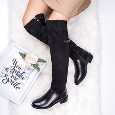 Cizme cu toc dama negre Falisia -rl Your Smile, Knee Boots, Casual, Shoes, Fashion, Knee High Wedge Boots, Moda, Shoes Outlet, Fashion Styles