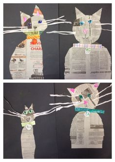 Kindergarten made kitty cats from newspaper. - Kindergarten made kitty cats from newspaper. Kindergarten made kitty cats from newspaper. Owl Crafts, Animal Crafts, Preschool Crafts, Preschool Printables, Club D'art, Art Club, Newspaper Collage, Newspaper Crafts, Splat Le Chat