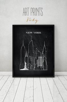 New York print Poster Wall art Cityscape New by ArtPrintsVicky