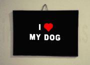cartel i love my dog.marca agua